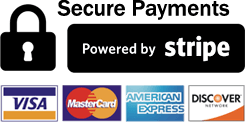 Secure Payments Powered by Stripe Visa Mastercard American Express Discover